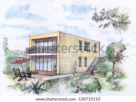 Modern House Sketch By Pencils Stock Illustration - Modern house sketch