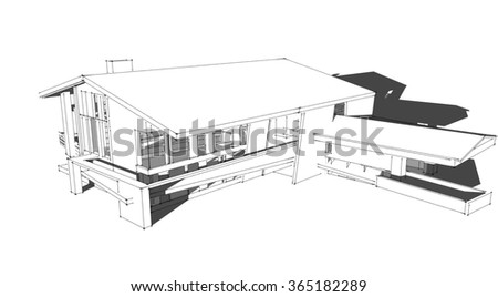 Modern House Wire Frame Stock Illustration 365182289 Shutterstock