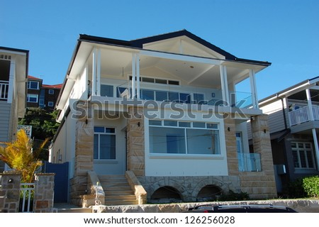 Modern house with big balcony, Australia, Manly - stock photo