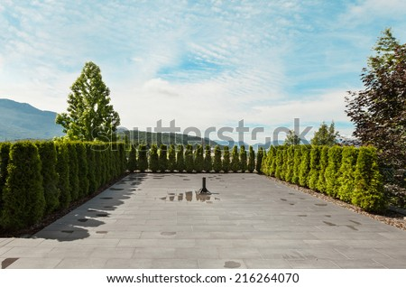 modern house with garden, external, view from patio - stock photo