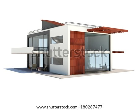 Modern house with wood elements isolated on white