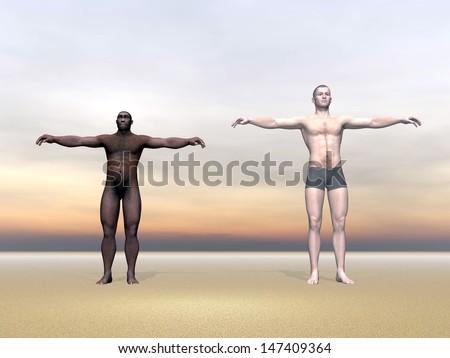 Modern human next to Homo Erectus man in colorful background - stock photo