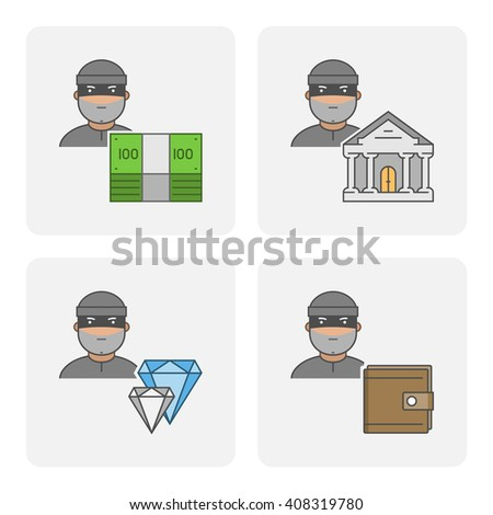 Modern icon bank theft. Cool symbol of stealing money. Linear icon stolen purse. Flat character stealing jewelry. - stock photo