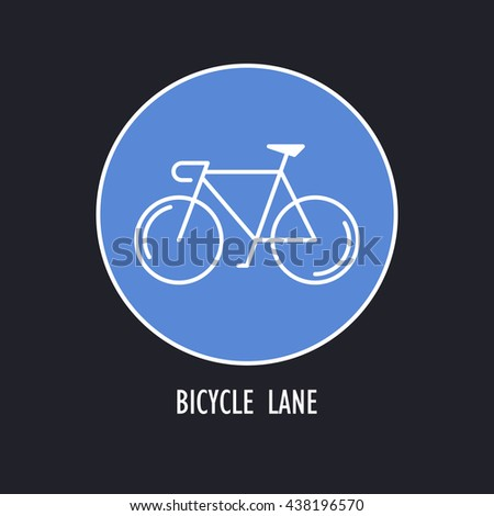 Modern Illustration of Bicycles Only Road Sign. White outline bike in a blue round isolated on a dark background. Design Element, logo or sticker made in trendy thin line style - stock photo