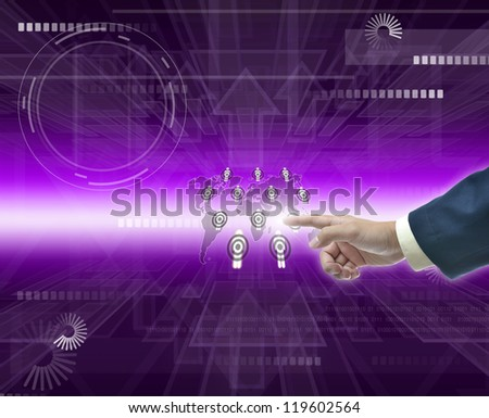 Modern Illustration of business selection on purple abstract background.