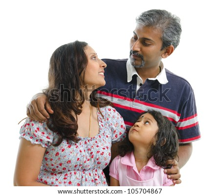 Modern Indian family having conversation on white background