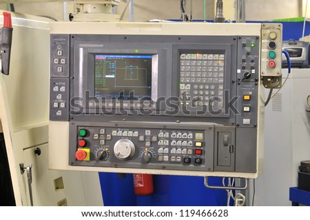 Modern industrial control panel - stock photo