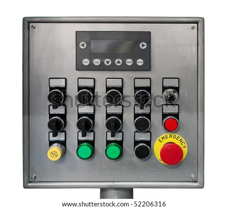 Modern industrial control panel isolated over white. Clipping path included. - stock photo