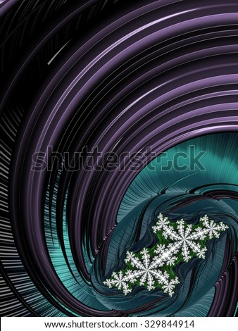 Modern industrial season greeting card abstract design background - white snow flake on deep purple and dark turquoise blue graphic swirl - stock photo