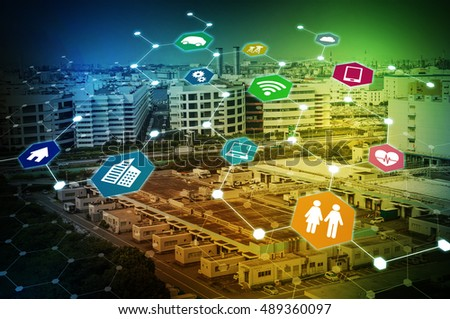 modern industry and Internet of Things concept abstract image visual, smart city, smart grid, sensor network, environmental monitoring
