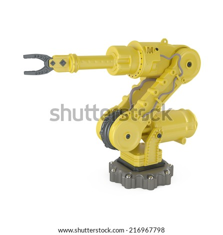Modern Industry Yellow Robot Hand isolated on white - 3d illustration - stock photo
