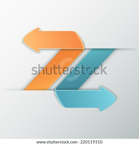Modern infographics options banner with orange and blue paper arrows. Rasterised Copy. Can be used for web design and  workflow layout - stock photo