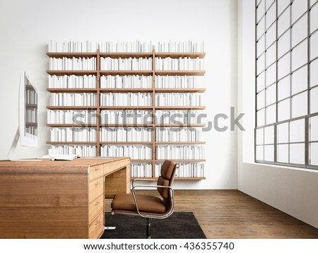 Modern interior cabinet room with big panoramic window,natural wood floor.Generic computers,generic design furniture in contemporary business conference office.Reflections monitor screen.3D rendering - stock photo