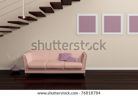 Modern interior composition with beige sofa, pictures on the wall and stairs