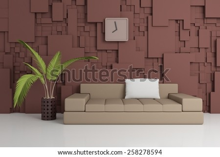 Modern interior composition with plant and simple sofa.