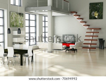 modern interior (3D render) - Living room - stock photo