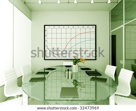 Modern interior. 3D render. Office. Exclusive design. - stock photo