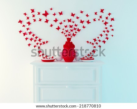 Modern interior decor. Butterfly composition on the wall. - stock photo