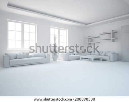modern interior design - stock photo