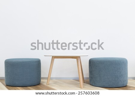 modern interior design chair and table white wall background - stock photo