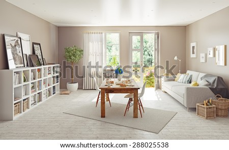 modern interior design. 3D concept - stock photo