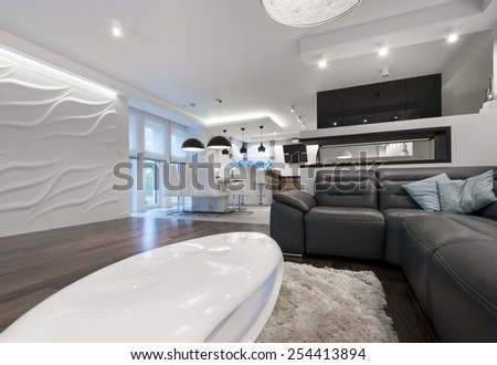 Modern interior design living room with kitchen in black and white - stock photo