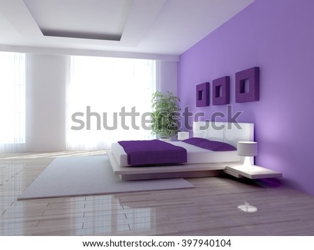 Modern interior design of kitchen with colored furniture - 3d illustration - stock photo