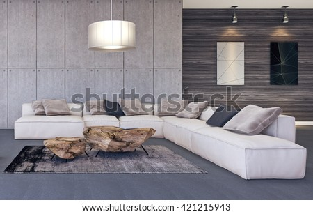Modern Interior Design Of Living Room 3D Illustration, 3D Rendering Part 93
