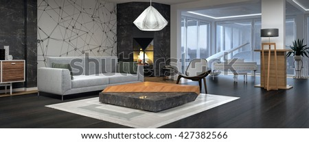 Modern Interior Design Of Living Room 3D Illustration, 3D Rendering Part 49