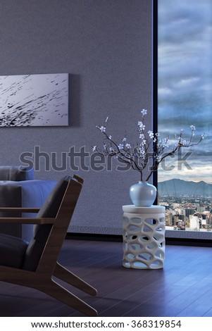 Modern interior design of living room 3d rendering - stock photo