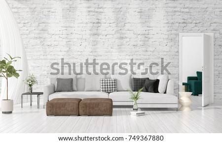 Genial Modern Interior Design Of Livingroom In Vogue With Plant, Grey Divan,  Copyspace. Horizontal