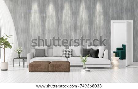 Modern Interior Design Of Livingroom In Vogue With Plant, Grey Divan,  Copyspace. Horizontal