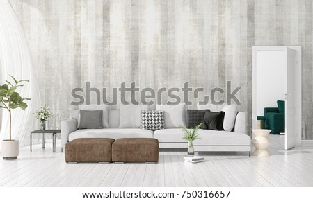 Etonnant Modern Interior Design Of Livingroom In Vogue With Plant, Grey Divan,  Copyspace. Horizontal