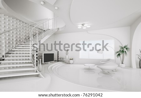 Modern interior design of white living room with staircase 3d render - stock photo