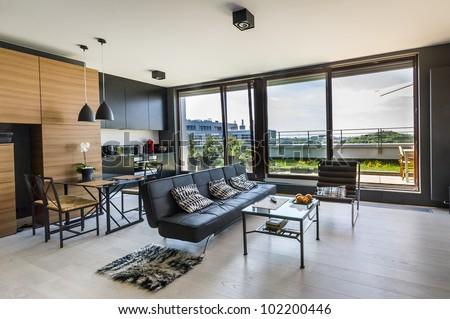 modern interior design room panoramic windowsの写真素材