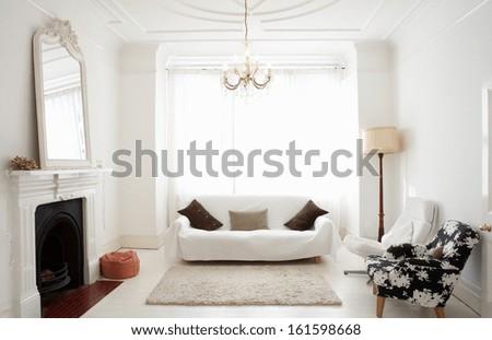 Modern Interior design. White Living Room - stock photo