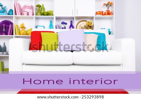 Modern interior design. White living room with sofa and bookcase. Home interior concept - stock photo