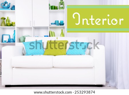 Modern interior design. White living room with sofa and bookcase. Interior concept - stock photo