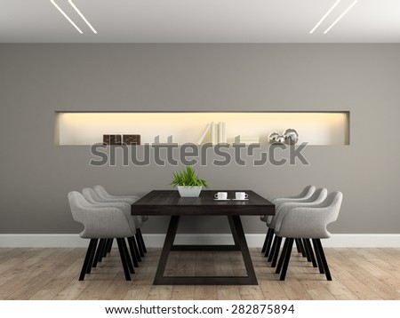 Modern interior dining room with table 3D rendering  - stock photo