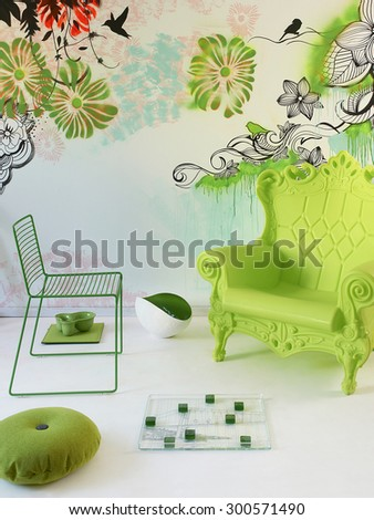 modern interior green chair  - stock photo