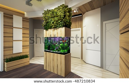 Modern interior hallway apartments with vertical gardening and aquarium. 3 D Rendering