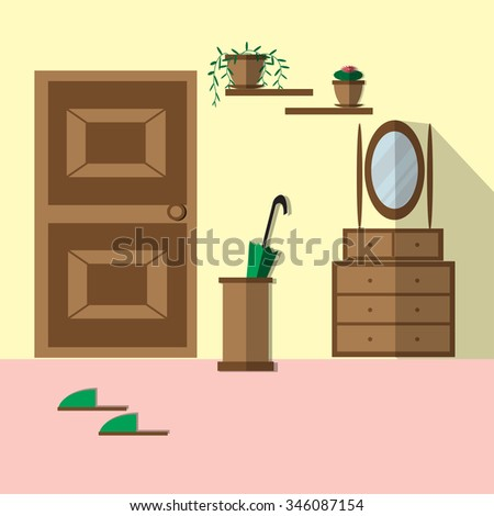 Modern interior hallway with mirror, door, shelves, flowers, commode. Hallway interior with furniture. Hall inside the house. Illustration flat style. Raster version, vector file is in portfolio too. - stock photo