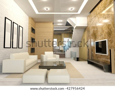 Modern interior in apartment's white living room, fully decorated with sofa chairs, frames hanging on white wall, flat screen television 3D rendering