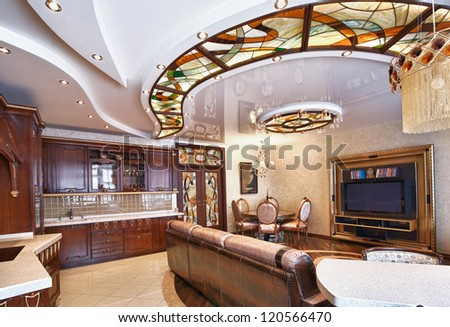 modern interior in shades of brown - stock photo