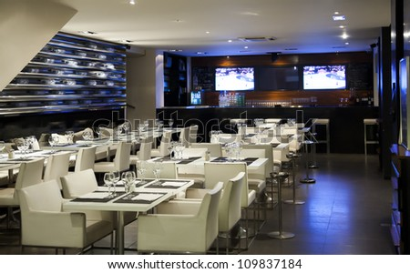 modern interior in wine restaurant