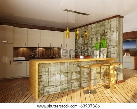 modern interior  kitchen with wooden bar - stock photo