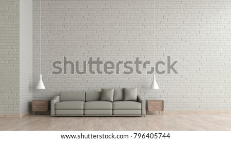 Modern interior living room wood floor stock illustration modern interior living room wood floor white brick texture wall with gray sofa template for mock pronofoot35fo Choice Image