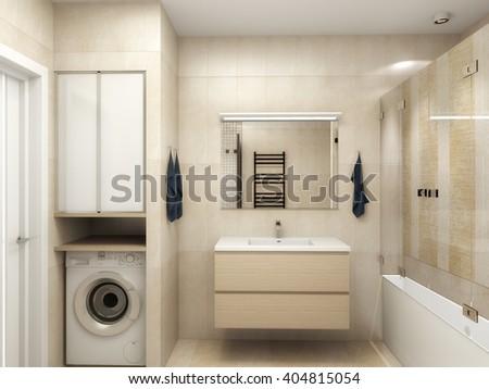 Modern interior of a bathroom 3D rendering - stock photo