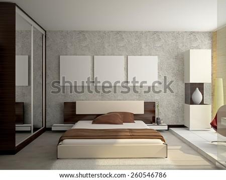 Modern Interior Bedroom Room 3 D Rendering Stock Illustration ...