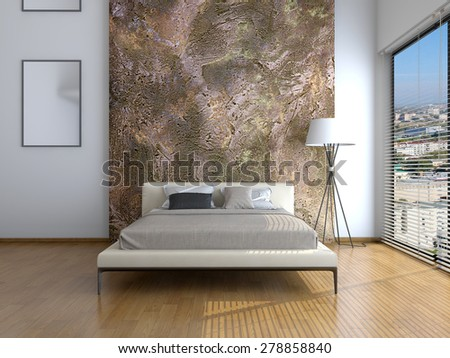 Modern interior of a bedroom room 3D rendering - stock photo